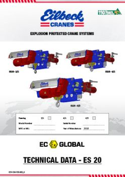 Explosion proof hoist ES20 technical Data
